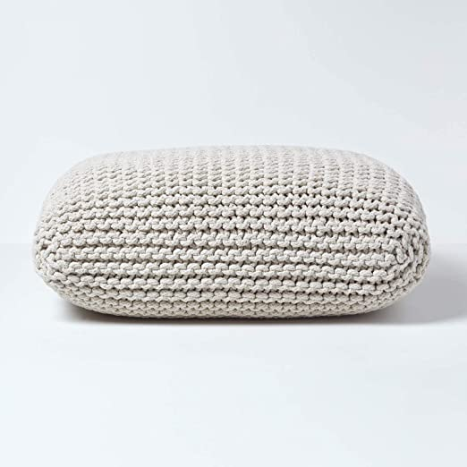 Homescapes - Punto Pouf grande Crema 70 x 20 cm Cojín de ...