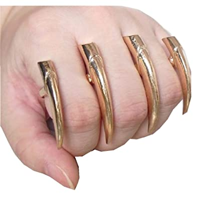 sharp finger claws. gothic punk metal sharp spike claws three fingers ring from 3 colors choose (wiipu- finger