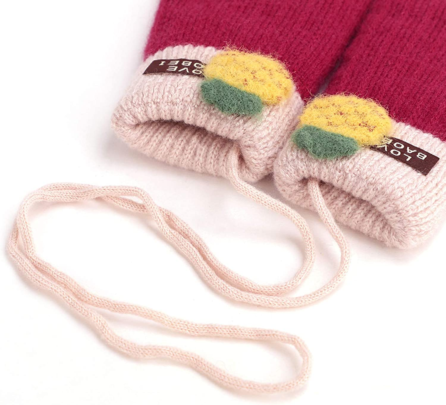 Unisex Kids Winter Knitted Warm Gloves Mittens Thick Plush Lined Thermal Full-finger Wrist Mittens Hand Warmer with Hanging Neck Anti-Lost String for 2-5 Years Old Christmas Gift