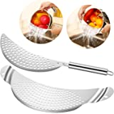 2 Pieces Pot Strainer Stainless Steel Crescent Pot Strainer with Handle Pasta Strainer Pan Pot Strainer with Recessed Hand Grips Suitable for Different Sizes Up to 10 Inches