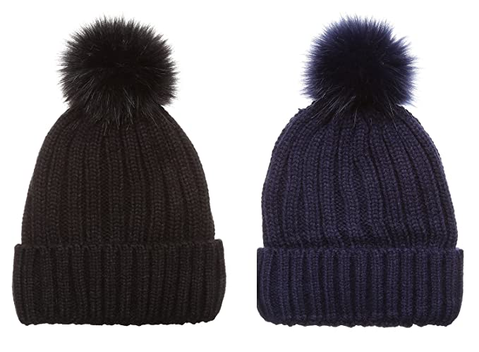 72bf6623d02 MIRMARU Winter Ribbed Knitted Skull Cap Cuff Beanie Hat with Faux Fuzzy Fur  Pom Pom (