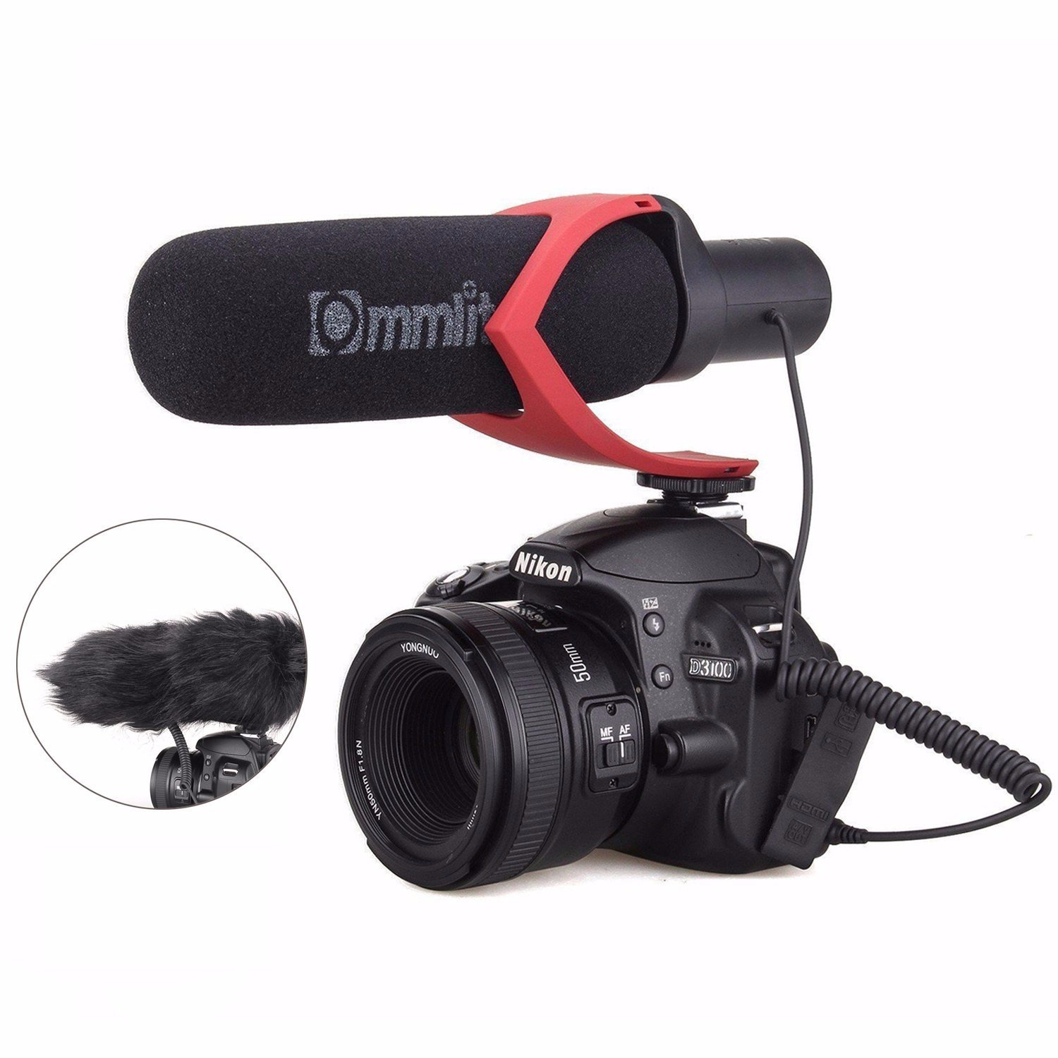 EACHSHOT CoMica Electrit Super-Cardioid Directional Condenser Shotgun Video Microphone Mic for Video and Interview with Nikon Canon Sony Camera, Camcorder (3.5mm TRS Jack) Red