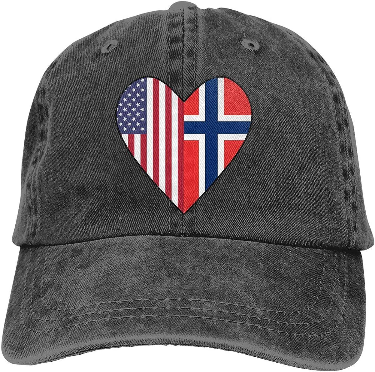 Half Norway Flag Half USA Flag Love Heart Unisex Personalize Denim Casquette Adjustable Baseball Cap