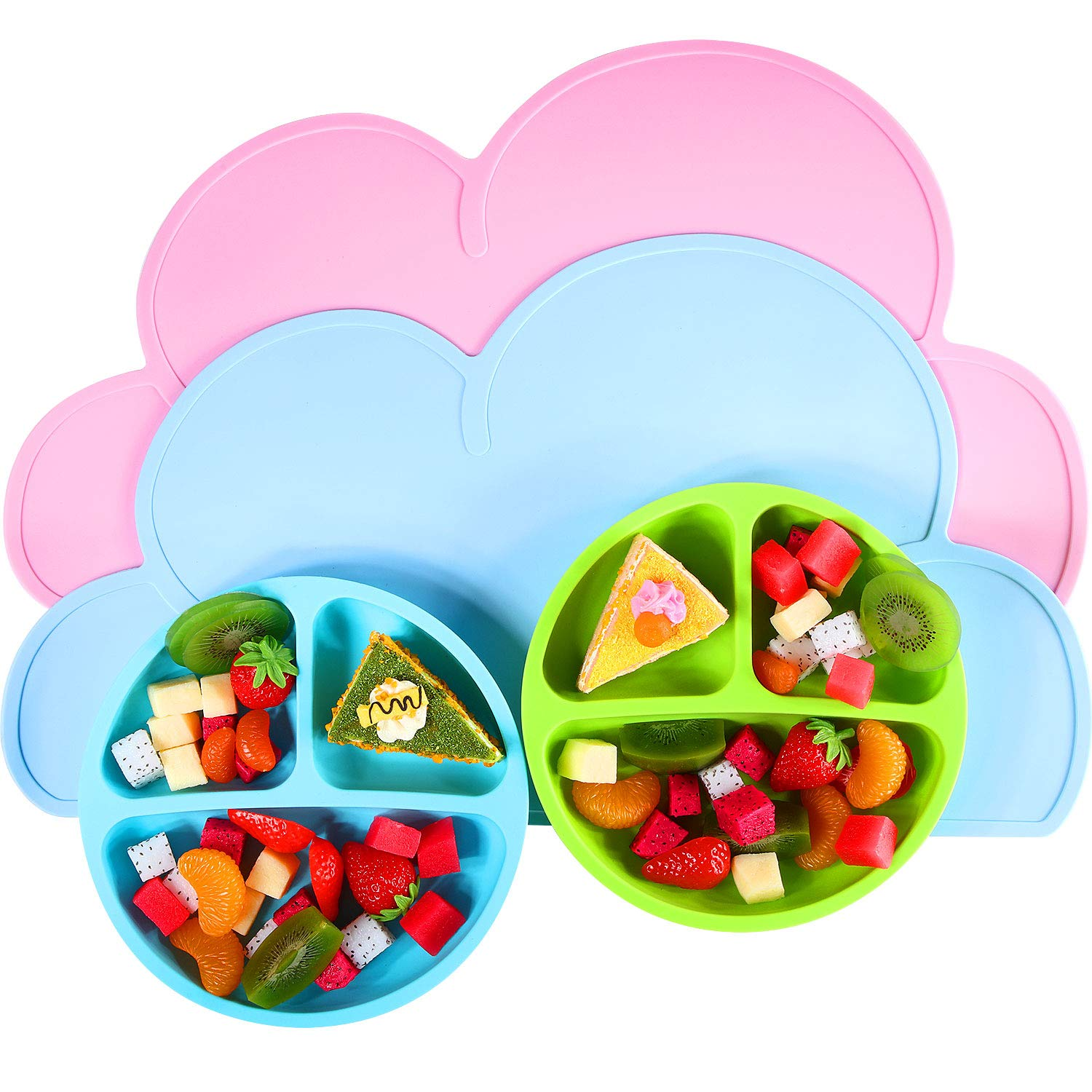 4 Pieces Baby Placemat and Silicone Plates Set Divided Baby Plates Non-slip Portable Food Mat Reusable Cloud Placemats Silicone Meal Mat for Kids Toddlers