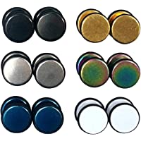 6 Pairs Set Rubber Band Outline 8mm Round Circle Fake Cheater Plug Tunnel Mens Womens Stainless Steel Stud Earrings