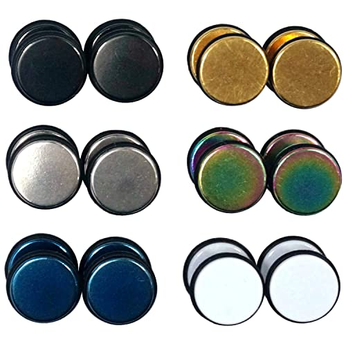Pendientes de dilataciones, fabricados con acero inoxidable, con banda de goma exterior, diseño de círculo de 8 mm de diámetro, unisex, set de 6 pares