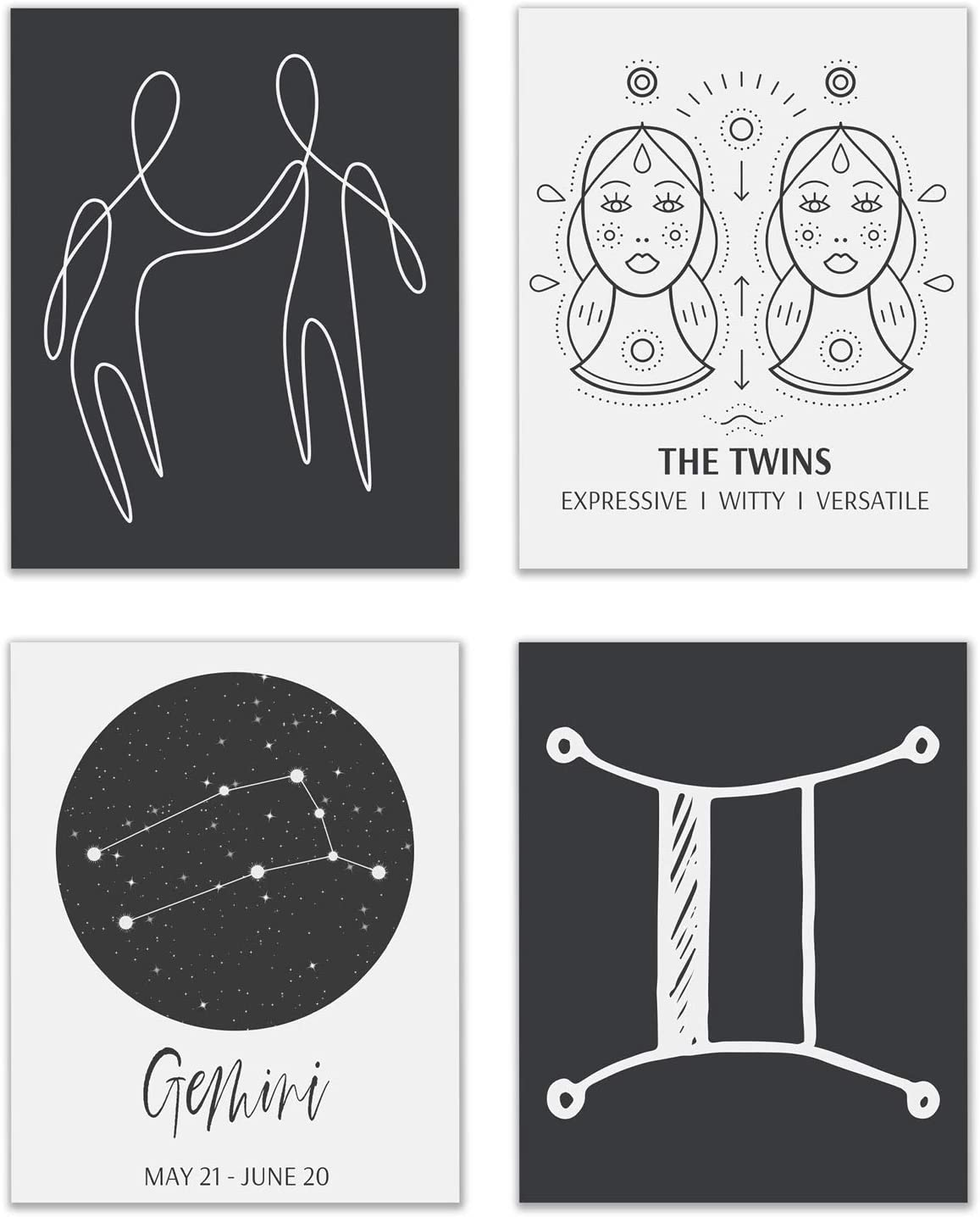 Gemini Astrological Sign Prints - Set of 4 (8x10 Inches) Zodiac Constellation Horoscope Star Sign Four Elements Wall Art Decor - The Twins - Air - Mutable - Mercury