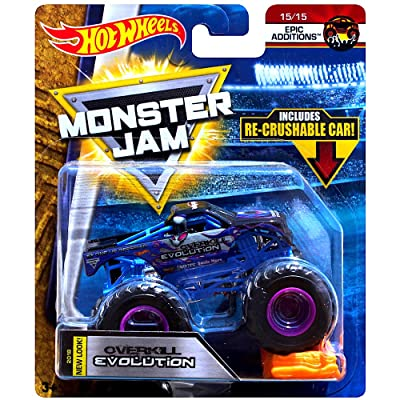 Hot Wheels MONSTER JAM EPIC ADDITIONS OVERKILL EVOLUTION WITH RE-CRUSHABLE CAR: Toys & Games