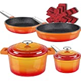 Dealz Frenzy Enamel Cast Iron Pots and Pans Set,Non-Stick Induction Cookware Set with Stainless Handles,Dishwasher Safe,Oven