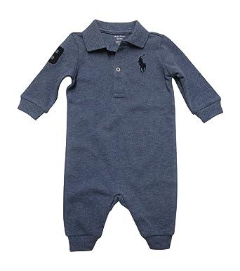 feb71db1b Amazon.com  RALPH LAUREN Baby Boys L S Mesh Polo Coverall  Clothing
