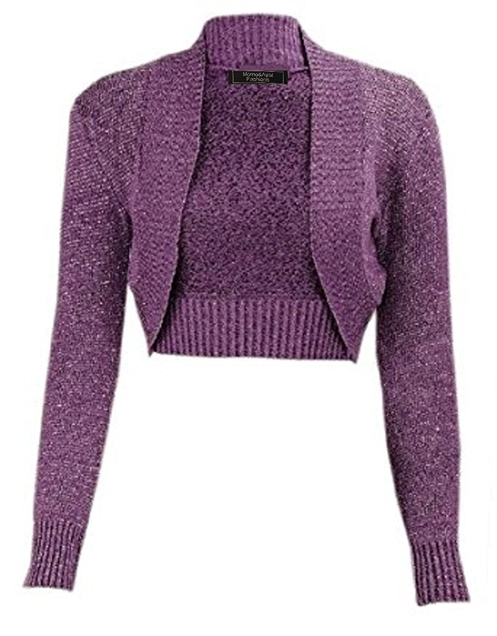 Momo/&Ayat Fashions Damen M/ädchen Lurex Metallic Ribbed Collar Geerntet Shrug EUR Gr/ö/ße 36-54