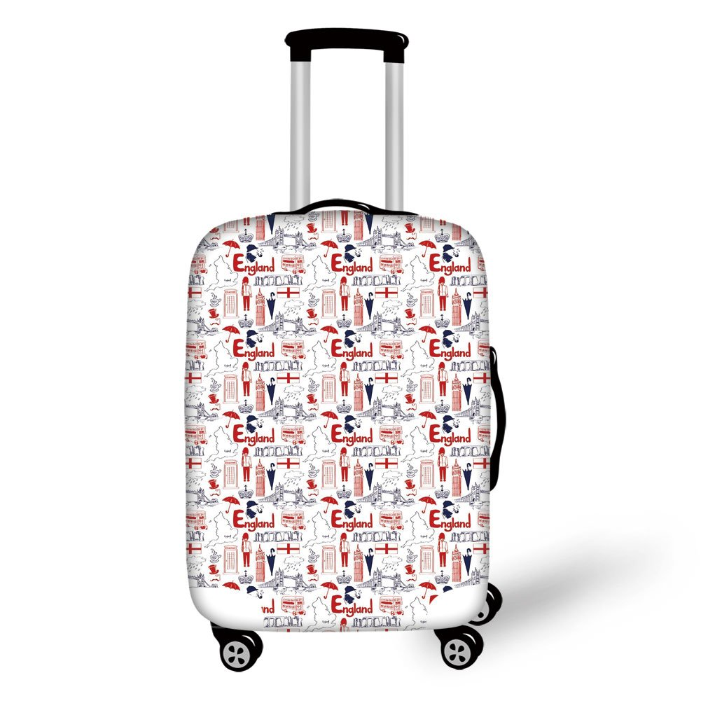 Travel Luggage Cover Suitcase Protector,London,Sketch Artwork Country British Cultural Collection in Doodle Style Decorative,Dark Blue Vermilion White,for Travel