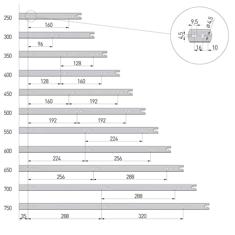 1 par Gu/ía de Caj/ón Extracci/ón Total 550 mm con Mecanismo de Cierre Autom/ático 45 kg Capacidad de Carga Riel de Caj/ón de Completa Extensi/ón Gu/ía Telesc/ópica de SO-TECH 2 piezas