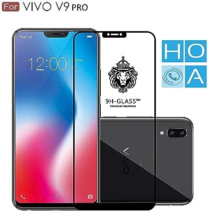 HoA Vivo V9 Pro Black 5D Tempered Glass Full Screen Curved 9H Edge to Edge  Fit Oleophobic Fingerprint Proof Scratch Protection for Gorilla Glass 6 3