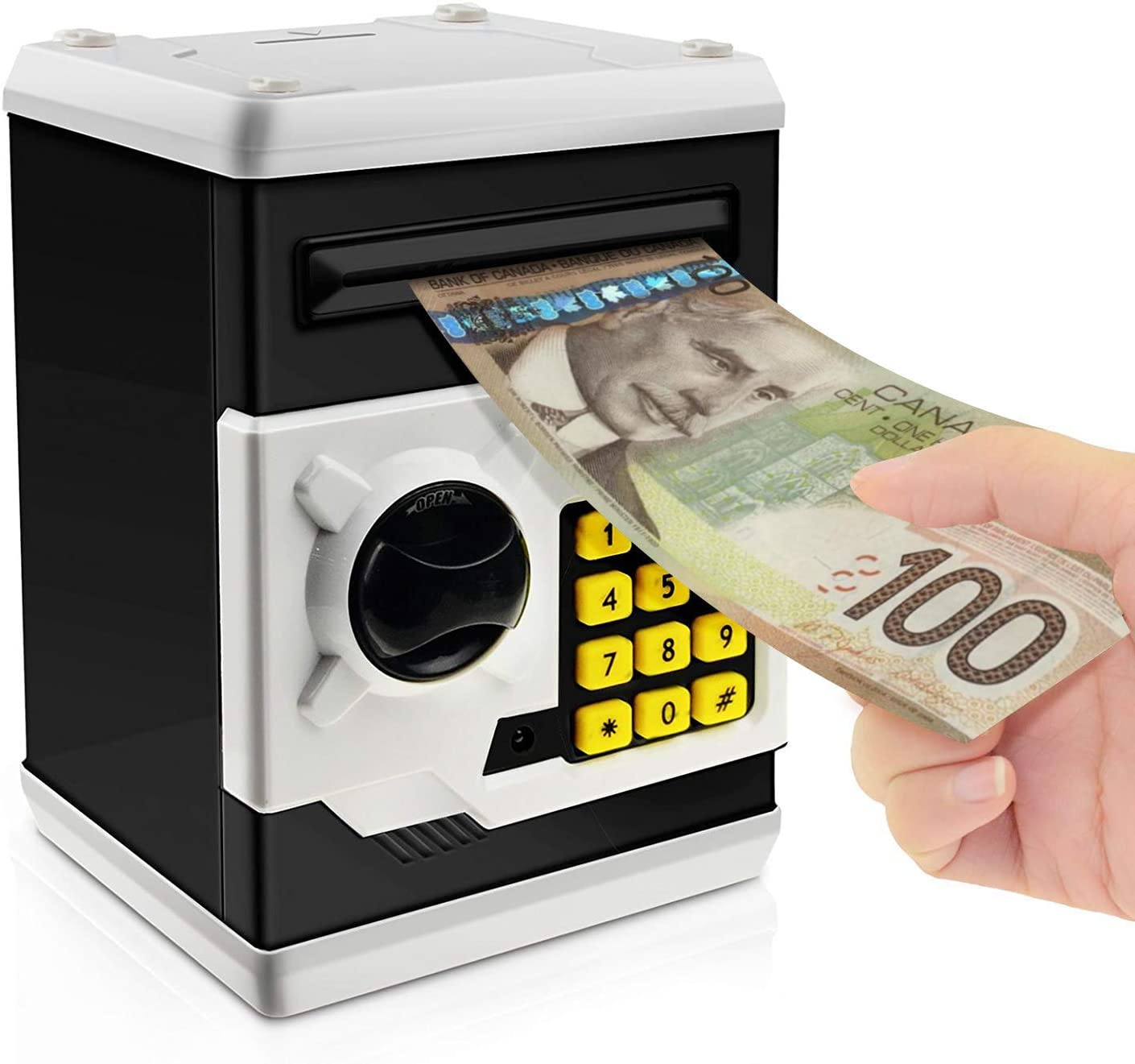 Black watata Childrens Cartoon Electronic Password Piggy Bank Mini ATM Bank Security Lock Smart Voice Prompt Automatic Roll Banknotes and Coins Best Childrens Gifts Fun Toys Birthday Gifts