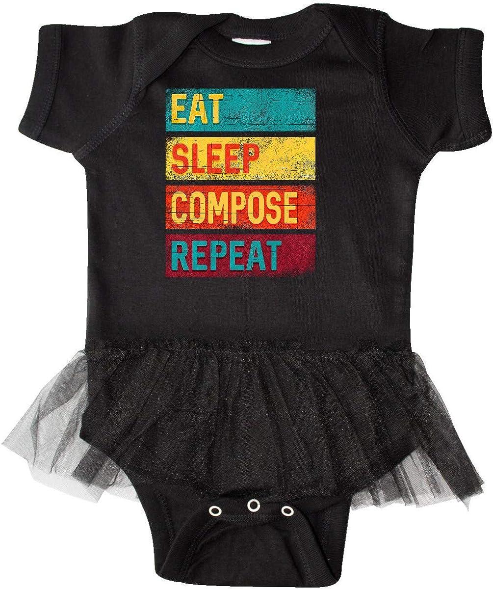 inktastic Composer Eat Sleep Compose Repeat Infant Tutu Bodysuit