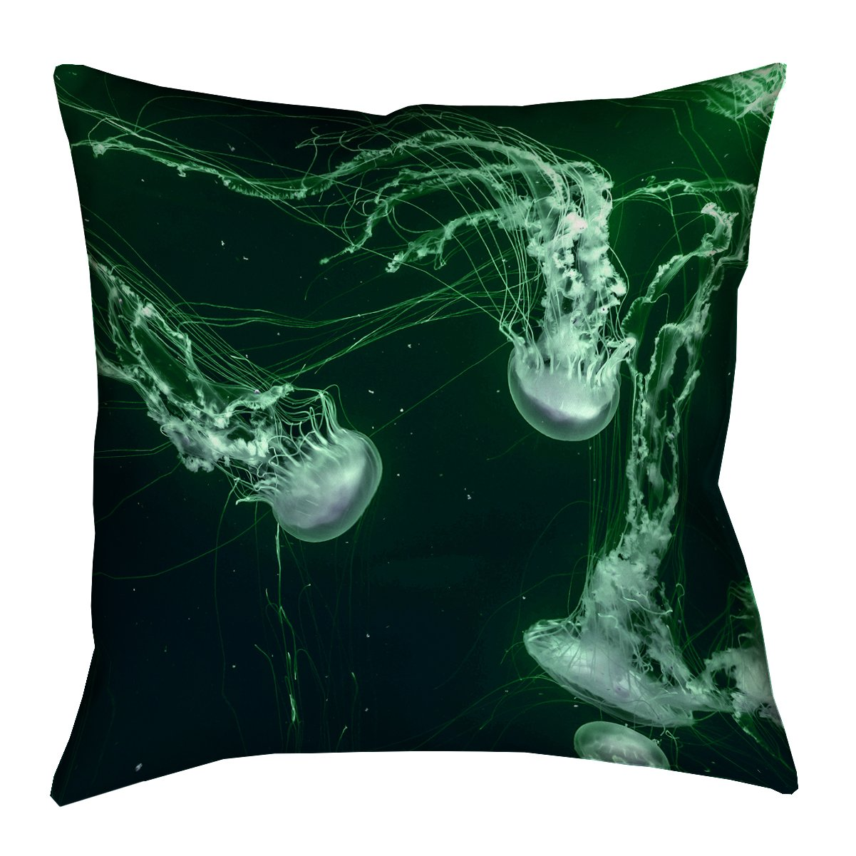 ArtVerse Katelyn Smith Green Jellyfish x Floor Pillows Double Sided Print with Concealed Zipper & Insert, 28