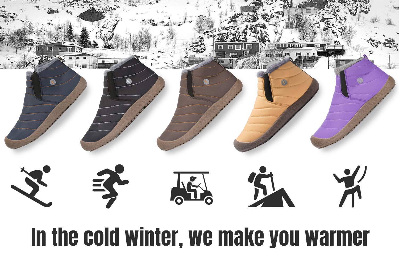 Mishansha Mens Womens Winter Snow Boot Outdoor Indoor Waterproof Slip On Athletic Casual Walking Hiking Ankle Shoes by Mishansha (Image #7)