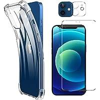 NDOOL Funda para iPhone 12, 3 en 1 Cristal Templado Protector de Pantalla + Mica de Lente, Ultra Fina Silicona…