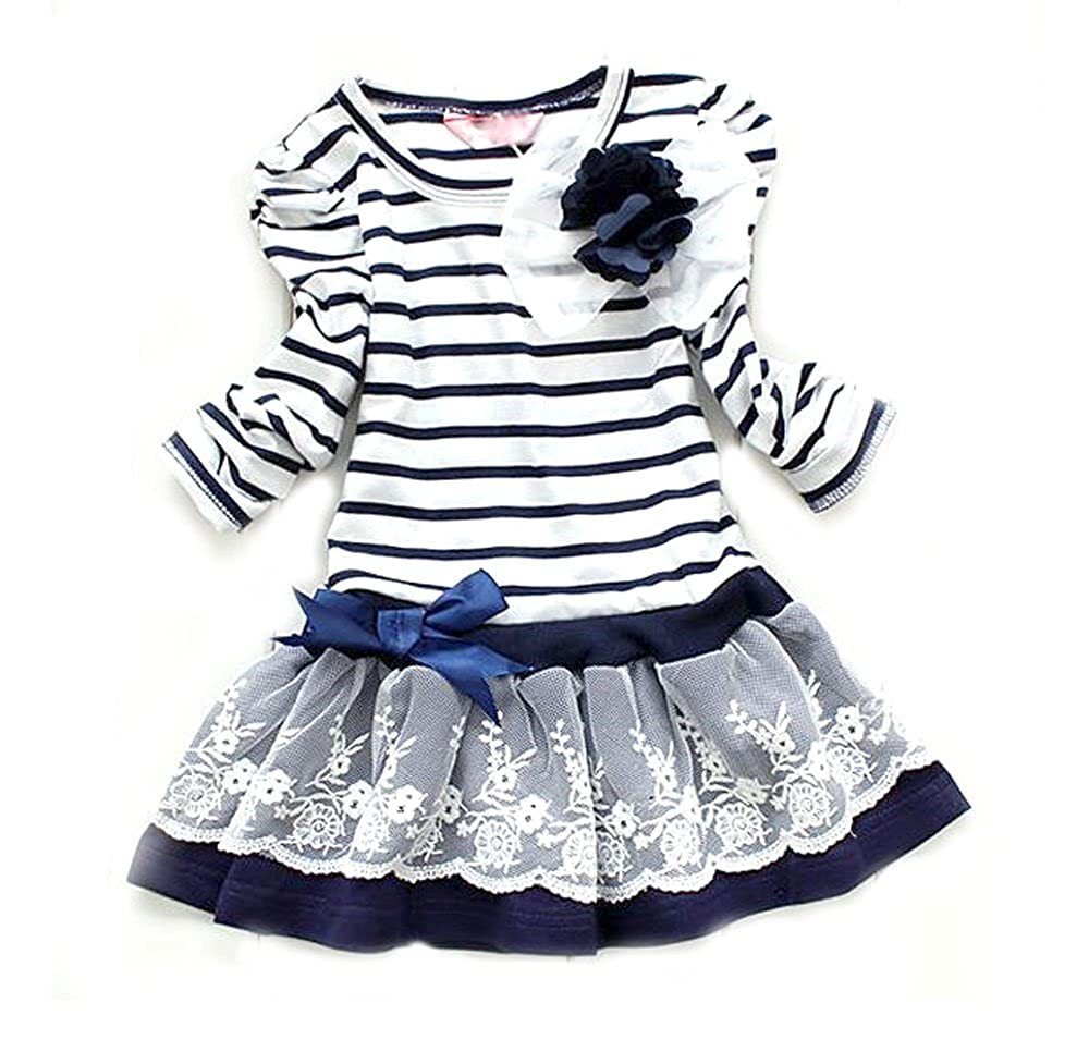 9a93e6b09 Amazon.com: SOPO Toddler Baby Girls Striped Lace Dresses 2 Colors Pure  Cotton Cute 3-7Y: Infant And Toddler Skirts Clothing Sets: Clothing