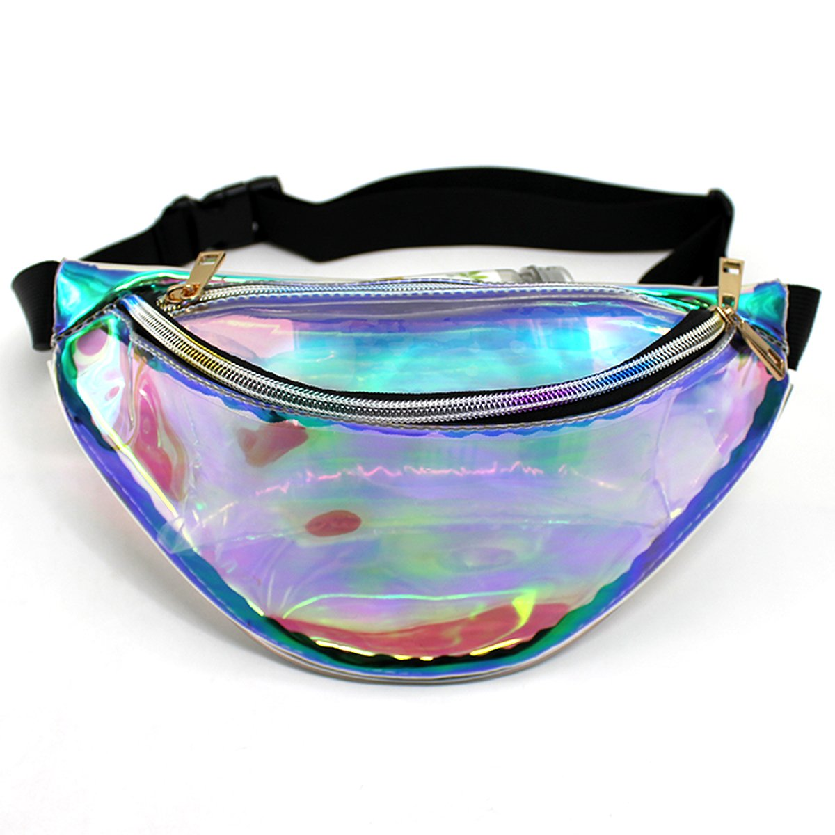 Mily Silver Hologram Fanny Pack Laser Fanny Pack Perfect for Raves and Festivals (Iridescent2 small size) by Mily (Image #6)