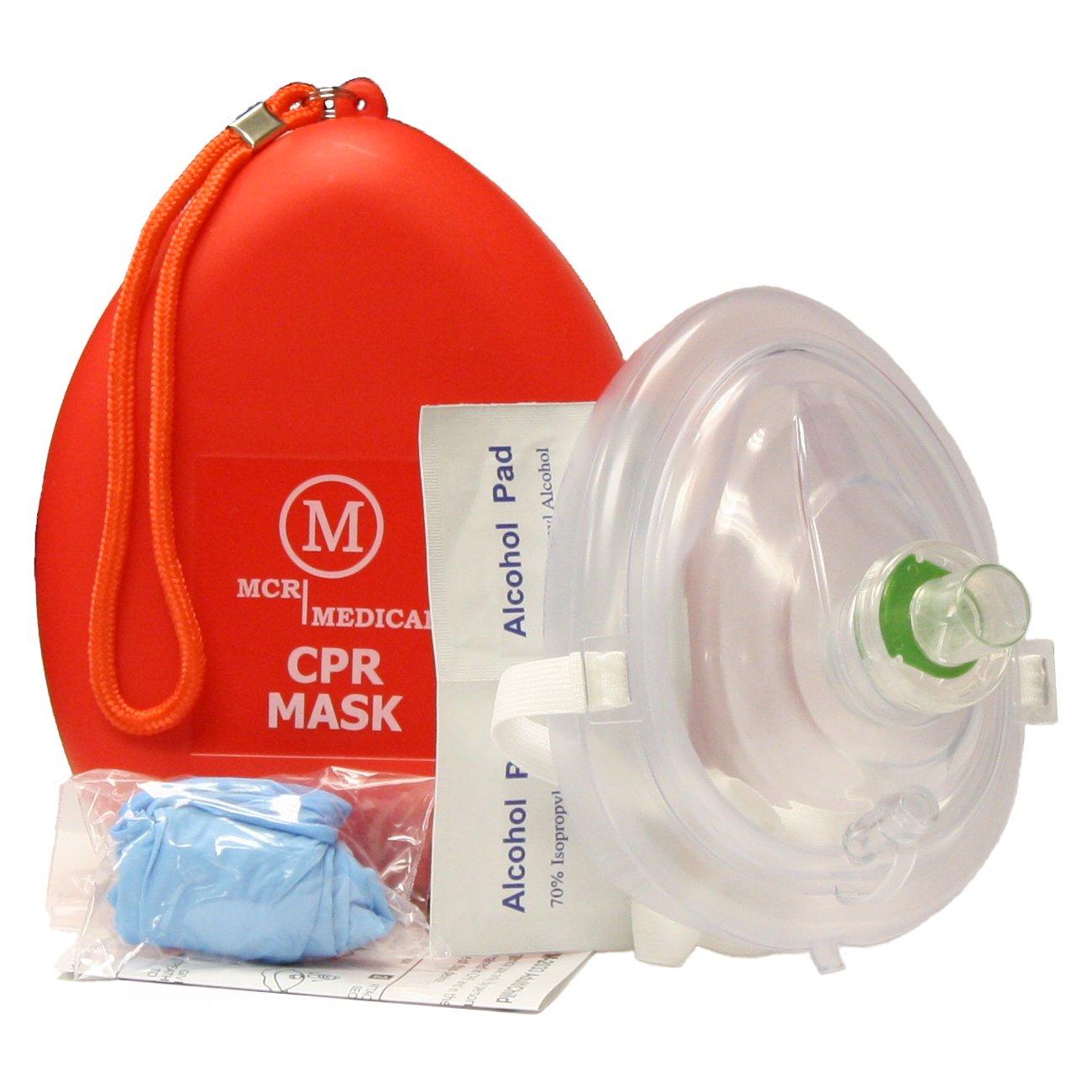 MCR Medical CPR Rescue Mask, Adult/Child Pocket Resuscitator, Hard Case with Wrist Strap