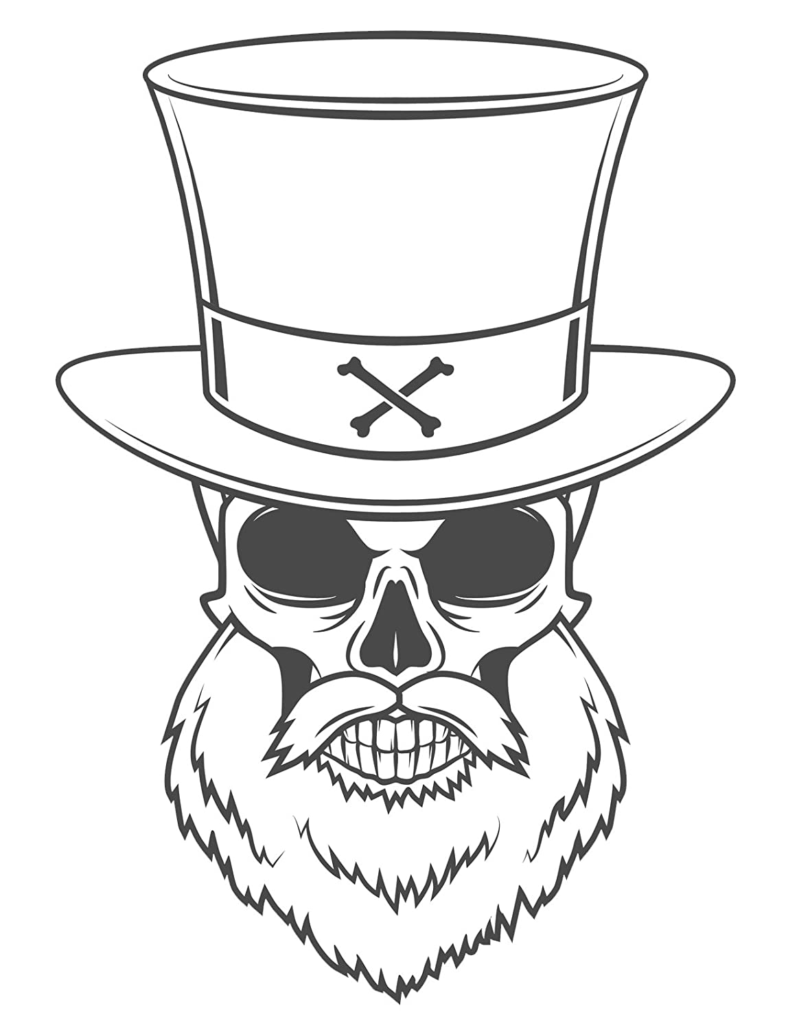 Amazon com black and white bearded skull with top hat vinyl decal sticker 8 tall automotive