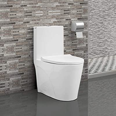 Swiss Madison SM-1T254 St. Tropez One Piece Toilet Dual Tornado Flush 0.8/1.28 GPF with Soft Closing Seat, Comfort Height, 26.6 x 15 x 31 inches, White