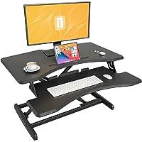 FEZIBO Standing Desk Converter, Stand up Desk Riser, 30 Inch Adjustable Height Computer Workstation Black