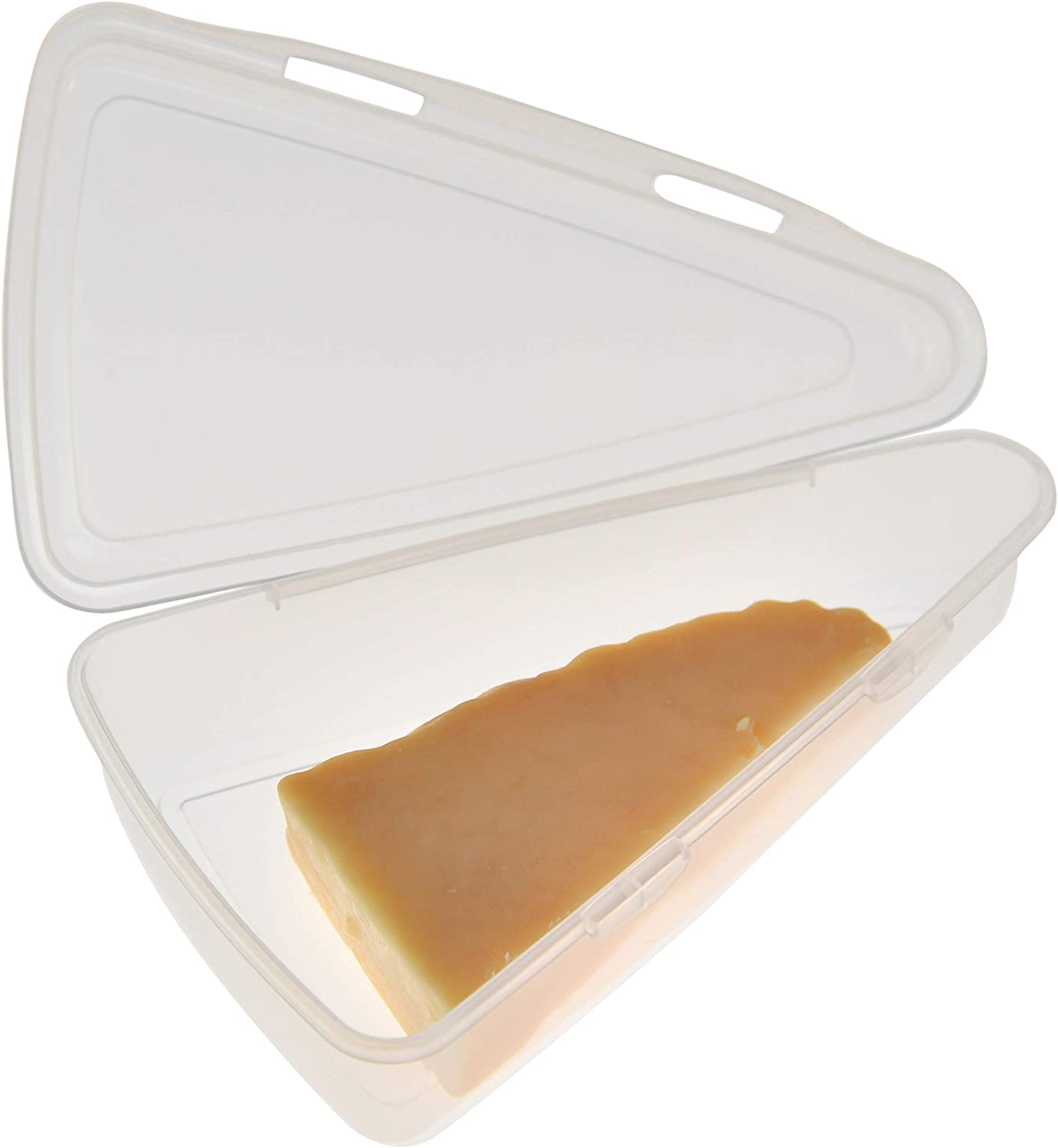 Home-X Triangle Cheese Container, Clear Plastic to-Go Containers for Cheese Wedges, Cake, and Pie Slices