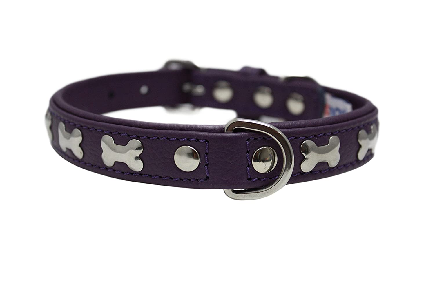 Leather Bones Dog Collar Padded Double-Ply Riveted Settings 16 x 3 4 Purple Leather (redterdam Bones) Neck Size  11.5-14