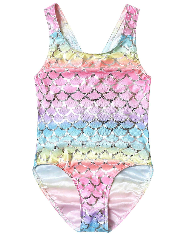 QPANCY Swimsuits for Girls Rainbow Mermaid Bathing Suits Kids Sparkle Swimwear