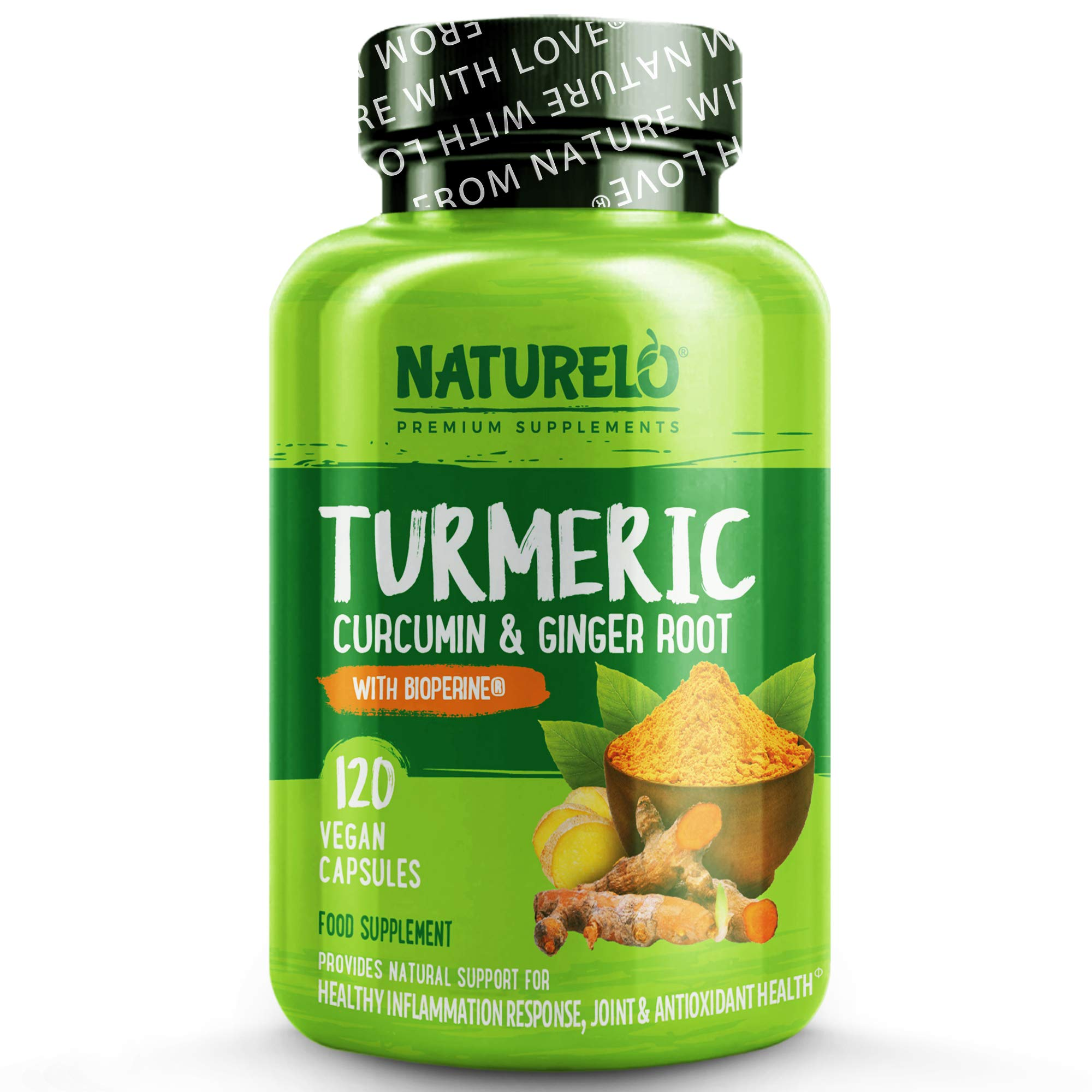 NATURELO Turmeric (Curcumin) - with Black Pepper for Better Absorption & Ginger, Boswellia & MSM - Powerful Complete Formula For Optimal Physical Wellness - 120 Vegan Capsules | 4 Month Supply