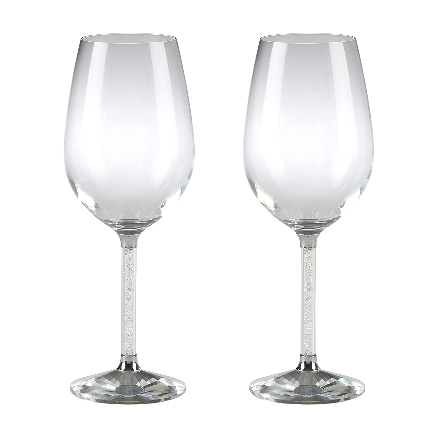 Clear Set of 2 SARO LIFESTYLE SE311.C Isabella Collection Crystal Red Wine Glasses