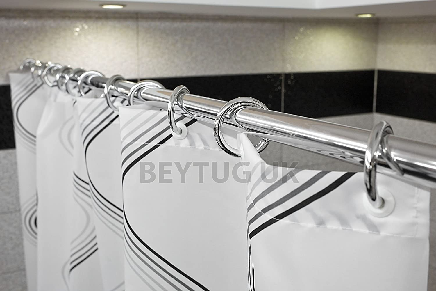 Spring loaded extendable net voile tension hanging shower curtain rail - New Telescopic Extendable Shower Curtain Rod Rail 70cm 110cm Spring Loaded Chrome Amazon Co Uk Kitchen Home