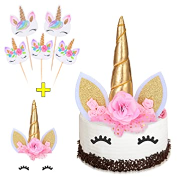 Gold Unicorn Cake Topper With Eyelashes Rainbow Cupcake Toppers