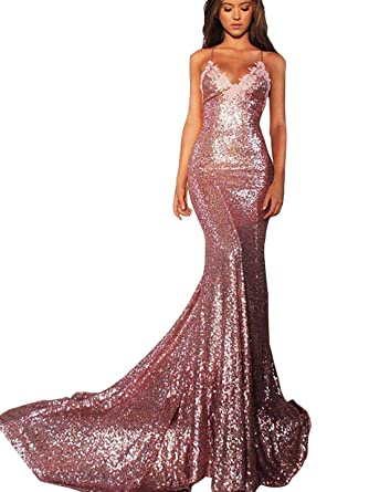 Wdress Pom Dresses Sequined Cloth Mermaid Long Formal Dresses Open Back at Amazon Womens Clothing store: