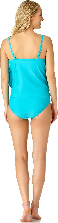 Catalina Womens Tiered Multi Ruffle Tankini Swimsuit Tankini Top