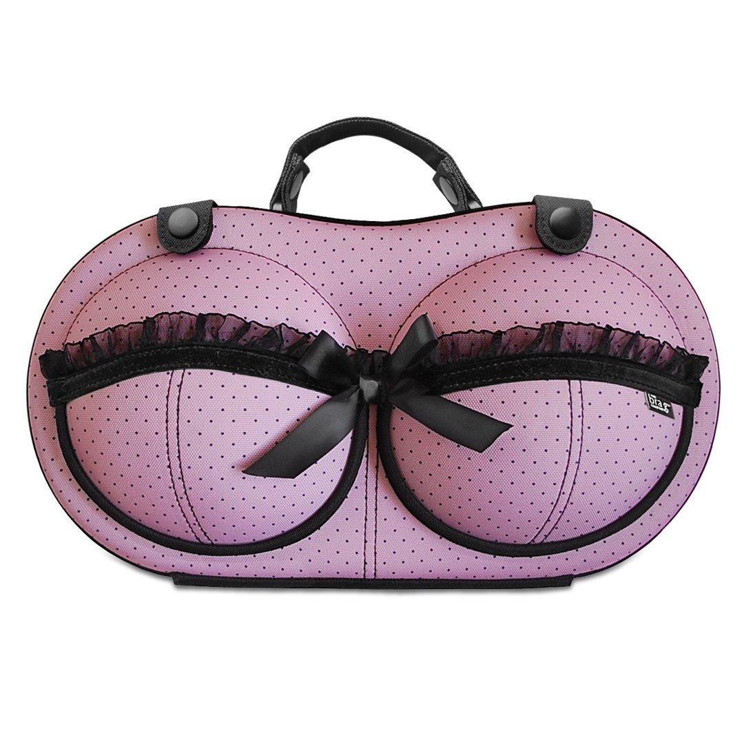 Premium Bra Case Braiou Lingerie Travel Bag Zip Underwear Organizer Bag for A-DD Cup Leopard Print