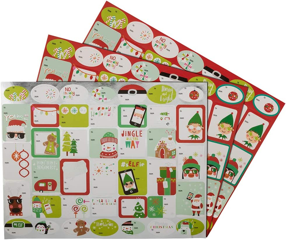 100//Pack Cheerful Christmas JAM PAPER to//from Christmas Gift Tag Stickers