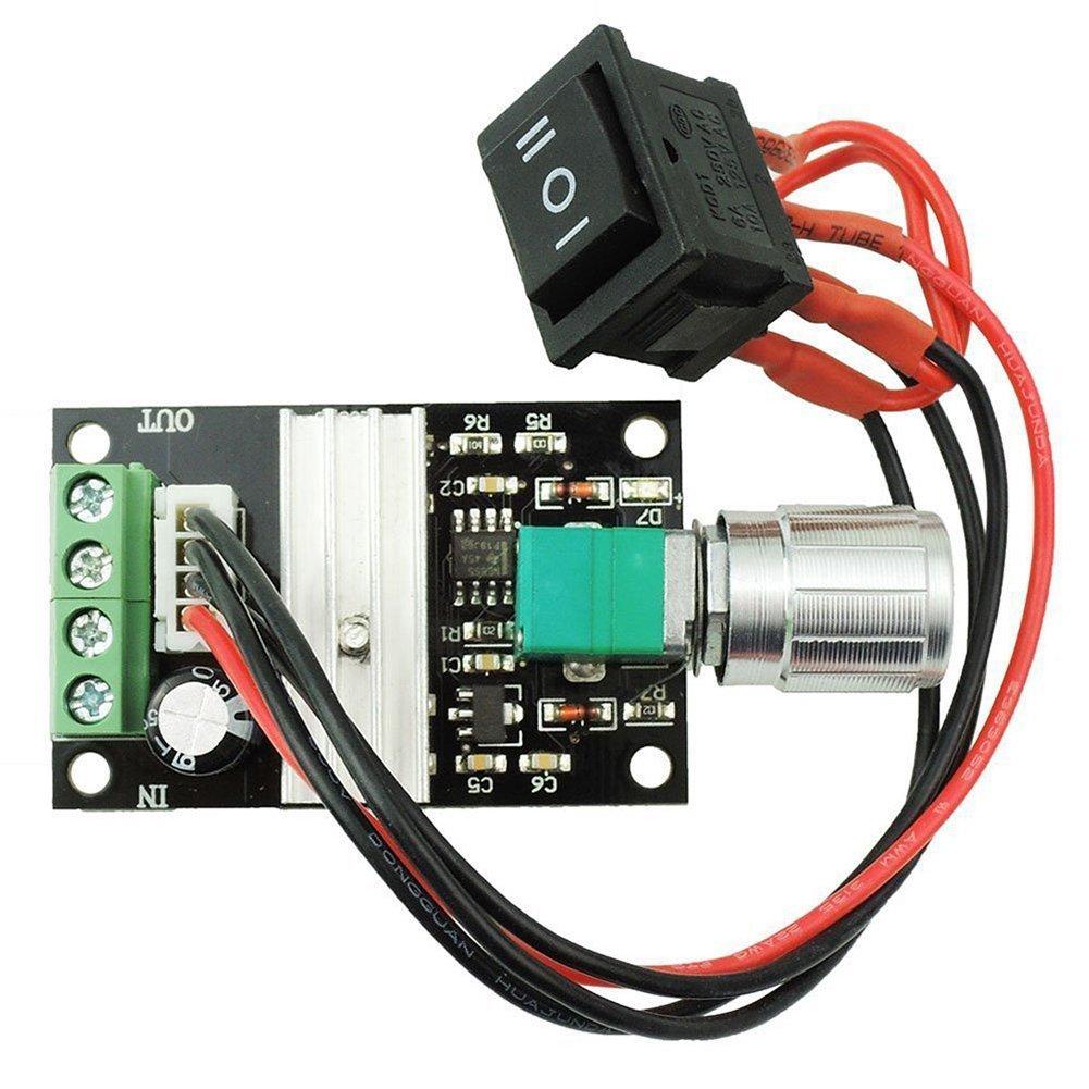 TOOGOO(R) 6V 12V 24V 28V 3A 80W DC Motor Speed Controller (PWM) Speed Adjustable Reversible Switch 1203BB dc motor driver reversing