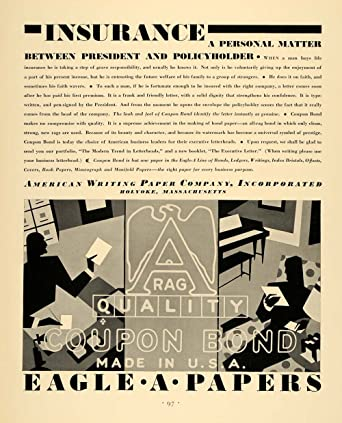 Amazon Com 1930 Ad American Writing Eagle Paper Coupon Bond