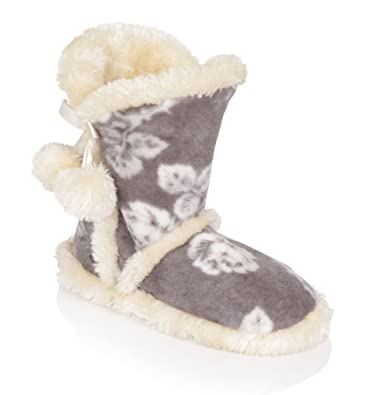 Womens Faux Fur Beige Ankle Slipper Boots New Ladies Girls Soft Warm Comfy Shoes