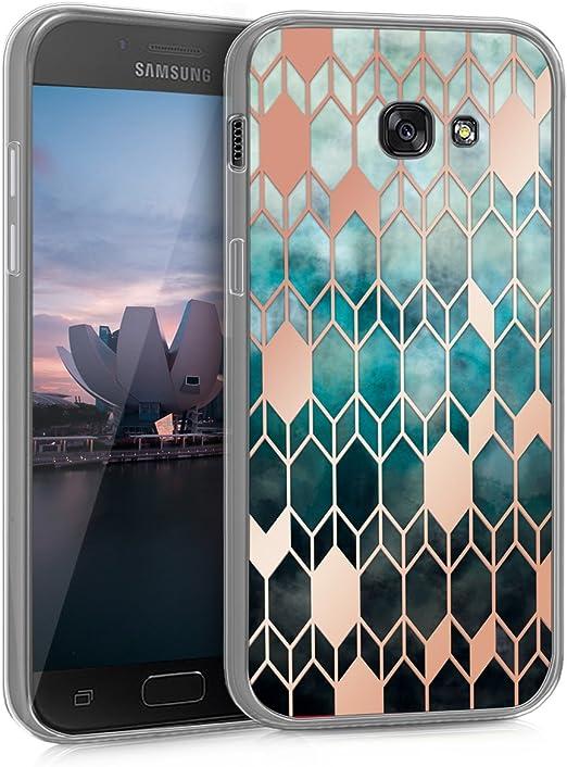 kwmobile Coque pour Samsung Galaxy A5 (2017) - Coque de protection arrière transparente IMD - Bleu gloire et or rose