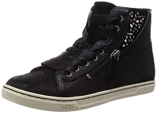 UGG Women's Blaney Crystals Black Leather Sneaker 5 B ...