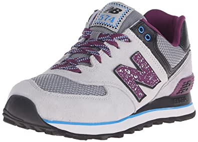 New Balance Women's WL574 Outside In Pack Classic Running Shoe, Grey/Purple,  5
