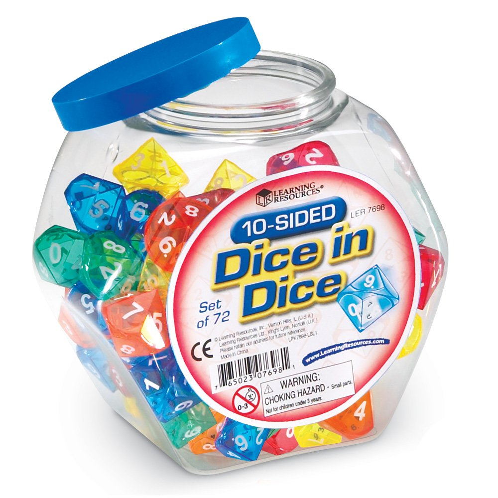 Learning Resources 10-Sided Dice in Dice Set by Learning Resources