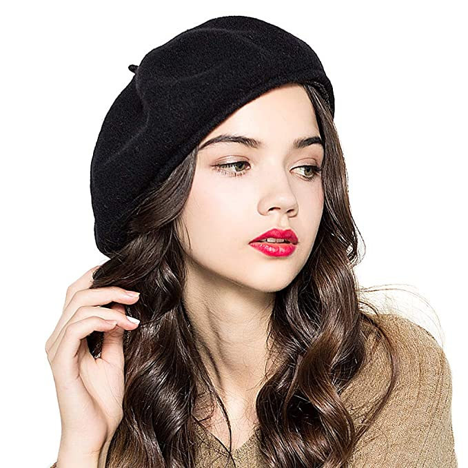 f55108145a3 Lvaiz Woman French 100% Wool Beret Solid Color Artist Hat Womens Winter Beanie  Cap Hat
