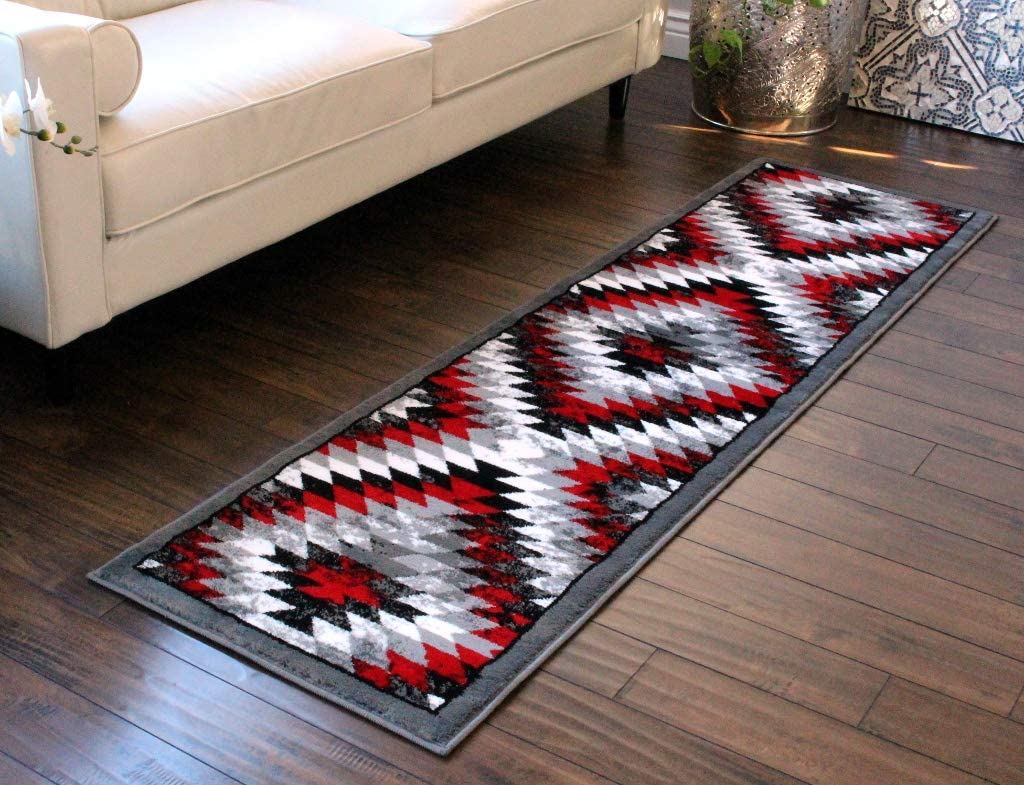 Masada Rugs, Stephanie Collection Area Rug Southwest Native American Distressed Design 1106 Red Grey White Black (2 Feet X 7 Feet 3 Inch) Runner