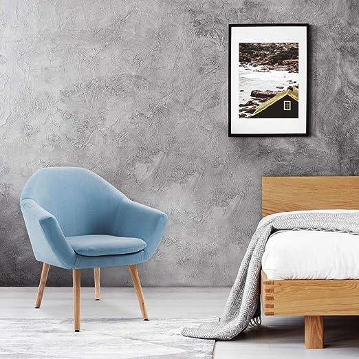Mc Haus Azul Sillón Nórdico Salón Comedor o Dormitorio Navian, Telas, 74 x 64 x 76 cm